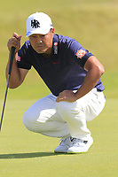 Hideto Tanihara (JPN) on the 1st green during Thursday's Round 1 of the Dubai Duty Free Irish Open 2019, held at Lahinch Golf Club, Lahinch, Ireland. 4th July 2019.<br /> Picture: Eoin Clarke | Golffile<br /> <br /> <br /> All photos usage must carry mandatory copyright credit (© Golffile | Eoin Clarke)