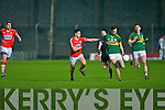 Ciaran Keating Kerry under 21 in action with James Davis Cork in the Cabury Munster U21 Quarter Finals 2014 at Austin Stack Park, Tralee on Wednesday night