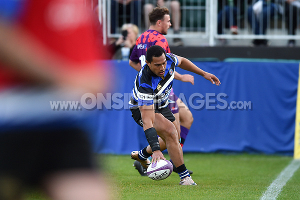 Robbie Fruean of Bath United runs in a first half try. Remembrance Rugby match, between Bath United and the UK Armed Forces on May 10, 2017 at the Recreation Ground in Bath, England. Photo by: Patrick Khachfe / Onside Images