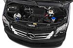 Car Stock 2014 Mercedes Benz Sprinter 319 Bluetec Extra Long High roof 4 Door Cargo Van 2WD Engine high angle detail view