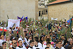 Israel, Jerusalem, Palm Sunday at the Franciscan Church in Bethphage on the Mount of Olives