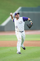 Winston-Salem Dash third baseman Gerson Montilla (17) makes a throw to first base against the Potomac Nationals at BB&T Ballpark on July 15, 2016 in Winston-Salem, North Carolina.  The Dash defeated the Nationals 10-4.  (Brian Westerholt/Four Seam Images)