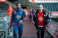 Ashley Williams of Swansea and Performance psychologist Ian Mitchell arrive at the Liverty Stadium Prior to the Barclays Premier League match between Swansea City and West Ham United played at the Liberty Stadium, Swansea  on December 20th 2015