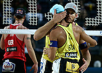 Campionati mondiali di beach volley, Roma, 18 giugno 2011..Brazil's and Emanuel Rego, back to camera, and Alison Cerutti, react after winning a point during their Beach Volleyball World Championship semifinal match in Rome, 18 june 2011..UPDATE IMAGES PRESS/Riccardo De Luca