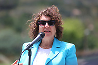 May 3 2019. Carlsbad, CA. |  Rabbi Dr. Laurie Coskey of Chavurah Kol Haneshamah talks at Community Call to Action Led by Community Leaders and Local Elected Officials in Response to Poway Shooting held at Alga Norte Community Park in Carlsbad. | Photos by Jamie Scott Lytle. Copyright.
