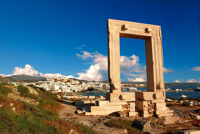 Doorway of the ruins of the Temple of Apollo. Naxos, Greek Cyclades Islands.