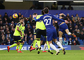2nd February 2019, Stamford Bridge, London, England; EPL Premier League football, Chelsea versus Huddersfield Town; David Luiz of Chelsea heads the ball from a corner to score his sides 5th goal in the 85th minute to make it 5-0