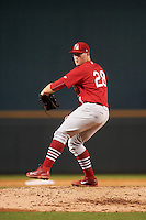 Palm Beach Cardinals relief pitcher Landon Beck (28) during a game against the Bradenton Marauders on August 8, 2016 at McKechnie Field in Bradenton, Florida.  Bradenton defeated Palm Beach 5-4 in 11 innings.  (Mike Janes/Four Seam Images)