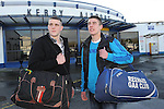 27-01-12: John Curran, Valentia and Kevin Moran, Reenard, Co. Kerry, at Kerry Airport on Friday before they departed for London.  Picture: Eamonn Keogh (MacMonagle, Killarney)