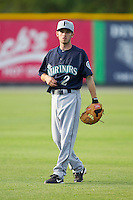 Keith Werman (2) of the Pulaski Mariners warms up in the outfield prior to the game against the Burlington Royals at Burlington Athletic Park on June20 2013 in Burlington, North Carolina.  The Royals defeated the Mariners 2-1 in 13 innings.  (Brian Westerholt/Four Seam Images)