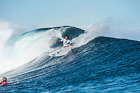 Namotu Island, Fiji (Monday, June 1, 2015) Alessa Quizon (HAW) - The Fiji Women&rsquo;s Pro, Stop No. 5 on the 2015 World Championship Tour, has called on this morning with a building swell.<br /> The event was put on hold till 9.30 am to take advantage of the dropping tide and once the water was coming off the reef it got underway.<br /> <br /> The surf was in the 4' range early with light winds and built to around 6' as the tide started pushing around midday. Round 1 was completed today.  Photo: joliphotos.com