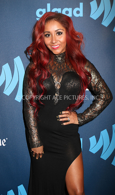 WWW.ACEPIXS.COM....March 16 2013, New York City....TV personality Nicole 'Snooki' Polizzi arriving at the 24th annual GLAAD Media awards at The New York Marriott Marquis on March 16, 2013 in New York City.....By Line: Nancy Rivera/ACE Pictures......ACE Pictures, Inc...tel: 646 769 0430..Email: info@acepixs.com..www.acepixs.com