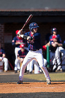 Jake Kennedy (30) of the Shippensburg Raiders at bat against the Belmont Abbey Crusaders at Abbey Yard on February 8, 2015 in Belmont, North Carolina.  The Raiders defeated the Crusaders 14-0.  (Brian Westerholt/Four Seam Images)