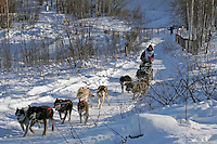 Saturday, February 24th, Knik, Alaska.  Jr. Iditarod musher Kristen Cain on the trail shortly after leaving the Knik start