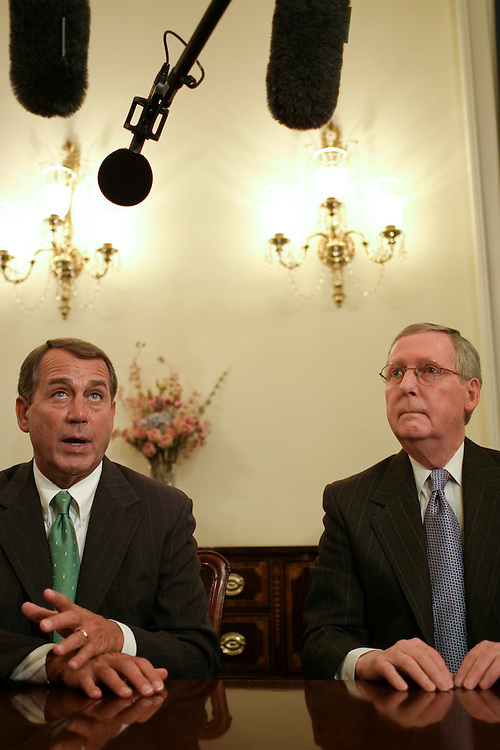 WASHINGTON, DC - Jan. 22: House Minority Leader John A. Boehner, R-Ohio, and Senate Minority Leader Mitch McConnell, R-Ky., during a photo op before their meeting on the economy. GOP House and Senate leaders attended the meeting. Lawmakers pressed ahead Tuesday with plans to kickstart the ailing U.S. economy, as the Federal Reserve Board stepped in with a big interest rate cut aimed at spurring growth and stabilizing a battered stock market. House Speaker Nancy Pelosi, D-Calif., Senate Majority Leader Harry Reid, D-Nev., and other leaders from both parties met with President Bush at the White House for about an hour to discuss an economic stimulus package. They agreed only on the basics: They will seek to move a $150 billion package by mid-February. It is clear that Pelosi and House Minority Leader John A. Boehner, R-Ohio, will work with Treasury Secretary Henry M. Paulson Jr. to develop a legislative proposal that can first pass the House and then be sent to the Senate. After the White House meeting, lawmakers would not discuss details of legislation, such as whether tax rebates would be provided only to those who pay income tax, or whether those who pay payroll tax would receive them as well. (Photo by Scott J. Ferrell/Congressional Quarterly)