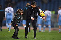 Simone Inzaghi of Lazio plays with his son at the end of the Serie A 2018/2019 football match between Lazio and Empoli at stadio Olimpico, Roma, February 7, 2019 <br />  Foto Andrea Staccioli / Insidefoto