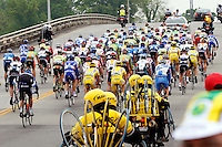 Racers ride through Dalton, Ga. at the beginning of Stage 4 of the Ford Tour de Georgia on Friday, April 21, 2006. Fred Rodriguez of Davitamon-Lotto won the 118.9-mile (191.4-km) stage from Dalton to Dahlonega.<br />