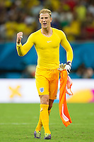 GoalkeeperJoe Hart of England shouts to fans to give more encouragement