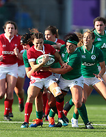 9nd February 2020; Energia Park, Dublin, Leinster, Ireland; International Womens Rugby, Six Nations, Ireland versus Wales; Jasmine Joyce (Wales) is tackled by Aoife McDermott and Lindsay Peat (Ireland)