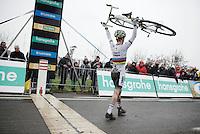 U23 World Champion Eli Iserbyt (BEL/Telenet-Fidea) crossing the finish line as the race AND overall winner of the U23 Superprestige Series<br /> <br /> Noordzeecross - Middelkerke 2016