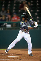 Daytona Tortugas center fielder Taylor Trammell (5) at bat during a game against the Jupiter Hammerheads on April 13, 2018 at Jackie Robinson Ballpark in Daytona Beach, Florida.  Daytona defeated Jupiter 9-3.  (Mike Janes/Four Seam Images)