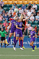 Rochester, NY - Saturday June 11, 2016: Western New York Flash midfielder Samantha Mewis (5), Orlando Pride defender Monica Hickman Alves (21), during a regular season National Women's Soccer League (NWSL) match between the Western New York Flash and the Orlando Pride at Rochester Rhinos Stadium.