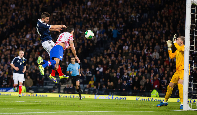 Robert Snodgrass heads in the opener for Scotland