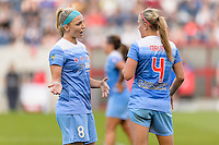 Bridgeview, IL - Saturday June 18, 2016: Julie Johnston, Alyssa Mautz during a regular season National Women's Soccer League (NWSL) match between the Chicago Red Stars and the Boston Breakers at Toyota Park.