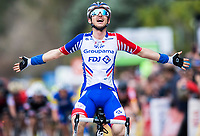 Picture by Alex Broadway/SWpix.com - 09/03/2018 - Cycling - 2018 Paris Nice - Stage Six - Sisteron to Vence - <br /> Rudy Mollard of Groupama FDJ celebrates winning the stage.<br /> <br /> NOTE : FOR EDITORIAL USE ONLY. THIS IS A COPYRIGHT PICTURE OF ASO. A MANDATORY CREDIT IS REQUIRED WHEN USED WITH NO EXCEPTIONS to ASO/Alex Broadway MANDATORY CREDIT/BYLINE : ALEX BROADWAY/ASO