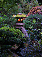 Lit lanterns in Portland Japanese Gardens. Oregon
