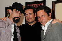 "PAUL J. ALESSI, ALEX RANARIVELO & ROSS McCALL  .James Owens ""Savage Beauty"" Art Show Opening Night held at Gasoline Gallery, El Segundo, California, USA>.April 10th, 2010.half length black grey gray jacket black top hat goatee facial hair pink.CAP/ADM/BP.©Byron Purvis/AdMedia/Capital Pictures."