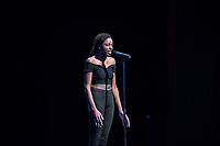 Ronnie Doss '20 shined with a spoken word performance to kick off the night.<br /> Occidental College students perform and compete during Apollo Night, one of Oxy's biggest talent showcases, on Feb. 24, 2017 in Thorne Hall. Sponsored by ASOC and hosted by the Black Student Alliance as part of Black History Month.<br /> (Photo by Marc Campos, Occidental College Photographer)