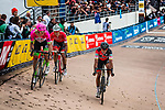 3rd group with Greg VAN AVERMAET finishing 4th and  Jasper STUYVEN finishing 5th during the 2018 Paris-Roubaix race at Velodrome Roubaix, France, 8 April 2018, Photo by Pim Nijland / PelotonPhotos.com | All photos usage must carry mandatory copyright credit (Peloton Photos | Pim Nijland)