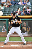 J.B. Shuck (3) of the Salt Lake Bees at bat against the El Paso Chihuahuas in Pacific Coast League action at Smith's Ballpark on August 7, 2014 in Salt Lake City, Utah.  (Stephen Smith/Four Seam Images)