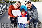 John Leen, Jamie Muntzer Leen and Kayley Munzter supporting Maurice Kelter as he gets ready to set off on his 66k Ultra Marathon in memory of his mom, the late Ann Kelter in Tralee on Sunday morning last