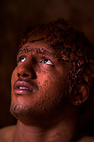 A Kushti wrestlers looks on at Motibag Talim on the 17th of September, 2017 in Kolhapur, India.  <br /> Photo Daniel Berehulak for Lumix