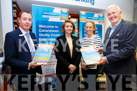 Bank of Ireland Cahersiveen to host Skellig Coast Enterprise Town at Colaiste na Sceilge on the 10th November pictured here l-r; Sean Brosnan(Manager Bank of Ireland Cahersiveen), Deirdre Garvey, Elizabeth Conlon & Frank Shaw (Bank of Ireland, Regional Manager, Kerry)