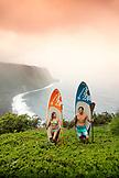 USA, Hawaii, The Big Island, paddle boarders stand above the Waipio Valley
