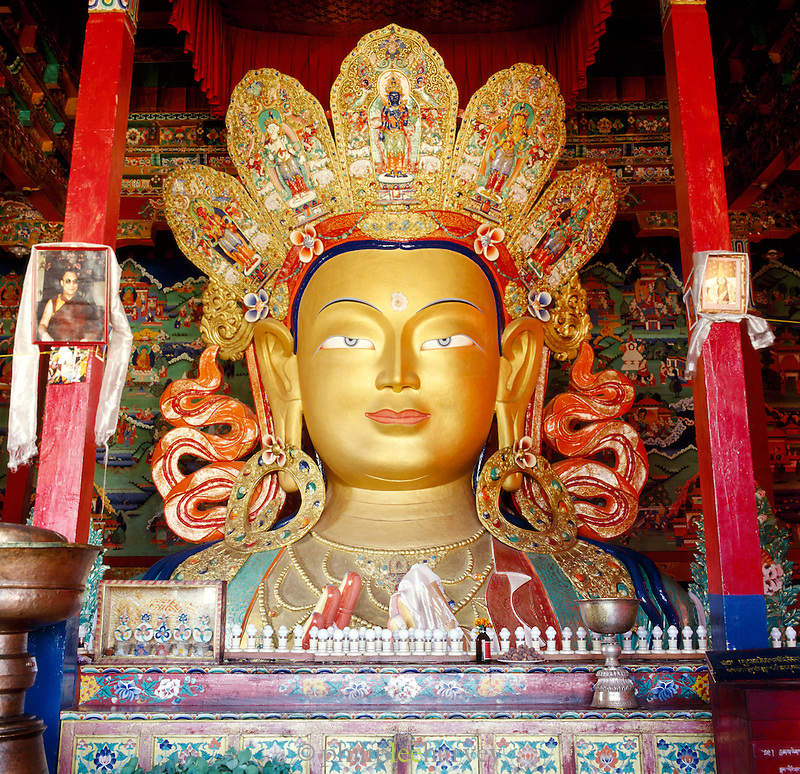 Gold painted Budha, Thikse Monastery, Ladakh, India