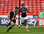 Jordan Doherty of Sheffield Utd tussles with Noah Chesmain of Millwall during the U23 Professional Development League Two match at Bramall Lane Stadium, Sheffield. Picture date 18th August 2017. Picture credit should read: Simon Bellis/Sportimage