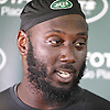 Muhammad Wilkerson #96 of the New York Jets speaks with the media after practice at Atlantic Health Jets Training Center in Florham Park, NJ on Wednesday, Aug. 17, 2016.