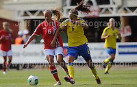 Julia Wahlberg of Sweden battles with Lisa Naalsund of Norway during the UEFA Womens U19 Championships at Stebonheath park Sunday 25th August 2013. All images are the copyright of Jeff Thomas Photography-www.jaypics.photoshelter.com-07837 386244-Any use of images must be authorised by the copyright owner.