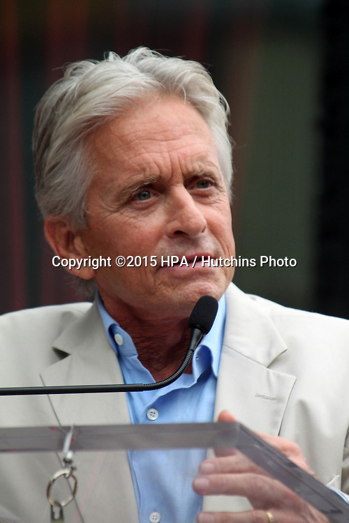 vLOS ANGELES - JUL 1:  Michael Douglas at the Paul Rudd Hollywood Walk of Fame Star Ceremony at the El Capitan Theater Sidewalk on July 1, 2015 in Los Angeles, CA
