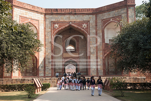 Delhi, India. Tomb of Emperor Humayun. School children.