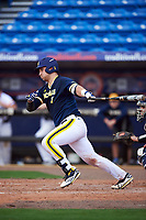 Michigan Wolverines catcher Harrison Wenson (7) at bat during the second game of a doubleheader against the Canisius College Golden Griffins on February 20, 2016 at Tradition Field in St. Lucie, Florida.  Michigan defeated Canisius 3-0.  (Mike Janes/Four Seam Images)