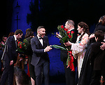 Gary Barlow, Harvey Weinstein and Laura Michelle Kelly with cast during the Broadway Opening Night Performance curtain call for  'Finding Neverland'  at The Lunt-Fontanne  Theatre on April 15, 2015 in New York City.