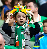 June 4th 2017, Aviva Stadium, Dublin, Ireland; International Friendly, Ireland versus Uruguay;  A young Irish supporter