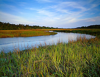 Jekyll Island, GA<br /> Clam Creek at high tide flowing into saltwater marsh grasses