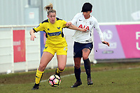 Fyfe of Oxford United Ladies and Ashleigh Neville of Tottenham Ladies during Tottenham Hotspur Ladies vs Oxford United Women, FA Women's Super League FA WSL2 Football at Theobalds Lane on 11th February 2018