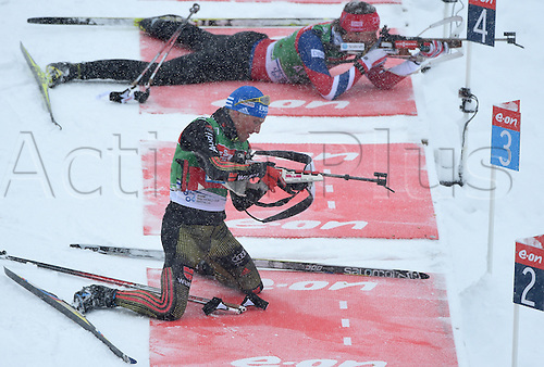 04.03.2016. Holmenkollen, Oslo, Norway.  Biathlete Erik Lesser of Germany (bottom) in action during a training session at the Biathlon World Championships, in the Holmenkollen Ski Arena, Oslo, Norway, 04 March 2016.